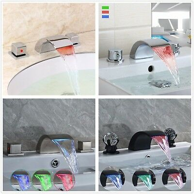 LED Widespread Bathroom Sink Faucet Vanity Two Handles Waterfall Basin Mixer Tap