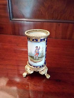 Sevres Hand-Painted Miniature Vase with Gilt Mounts C 1900