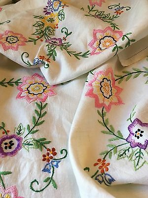 Large hand embroidered tablecloth with exceptional floral embroidery