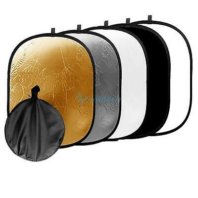 90*120CM 5 in 1 Photo Studio Collapsible Light Reflector + Carrying Case UK