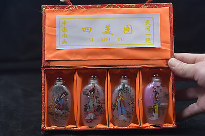 4pc Chinese folk Inside painted Four beauties glass SNUFF BOTTLE