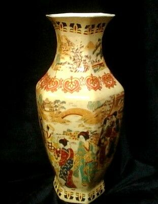 CHINESE Hand Painted Vase with 6 Sides.  Signed.  Excellent Condition.