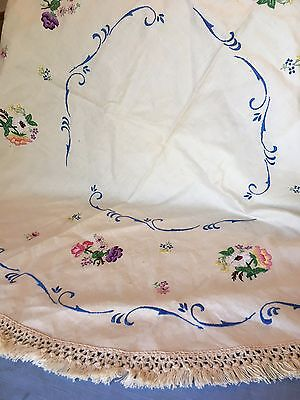 Beautiful unused round hand embroidered cloth with a crochet fringed edge