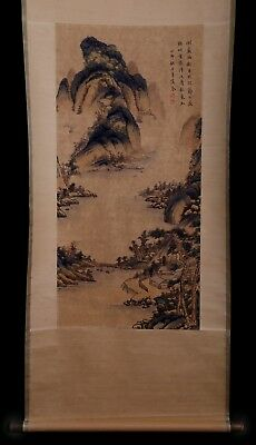 Awesome Chinese Handwork Landscape Old Scroll Painting Marked GaoCen KK716