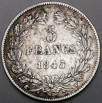 1845 W Five 5 Francs Louis-Philippe I Silver Coin Crown Sized