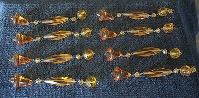 8 Art Deco Amber Facetted Glass Lustre / Lamp / Chandelier Drops  #23