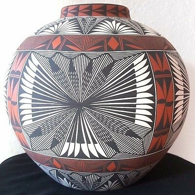 """Acoma Pottery by Corrine J. Chino signed 8.5"""" tall 9.5"""" wide"""