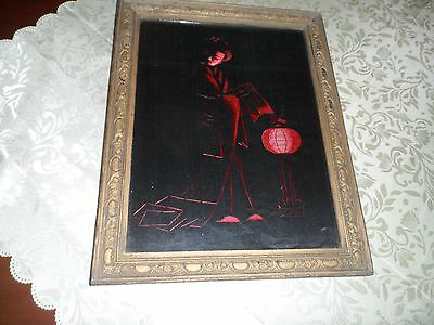 Oriental silk embroidery Geisha  picture in wood frame