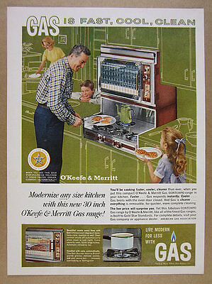 1963 O'Keefe & Merritt CONTEMPO Gas Range built-in cooktop oven vintage print Ad