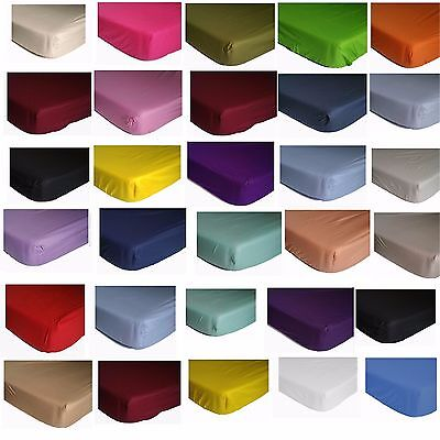 Elasticated FITTED SHEET Shumaxx single double king super king bed pillow cover