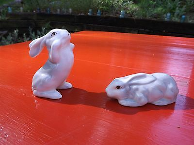 Porcelain Rabbit set, rabbit figures, Collectabel rabbits