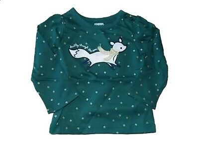 NWT Girl's Gymboree fox green long sleeve shirt ~ 12-18 months FREE SHIPPING!
