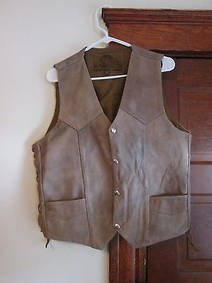 Mens Vest By Leather King  Size 44 Snap Front No Issues Mint