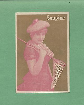 Lovely GIRL With BUTTERFY NET On SOAPINE SOAP Victorian Trade Card