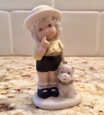 "Vintage Enesco Figurine: Girl with Westie Dog ""A Faithful Friend is a Treasure"""