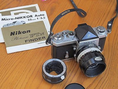 Nikon F SLR with 55mm f:3.5 Micro Nikkor with standard and Photomic Prisms
