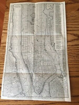 """Vintage 1887 New York City MAP  14.5""""x9"""" Size PLUS Victor High Wheel Bicycle Ad"""