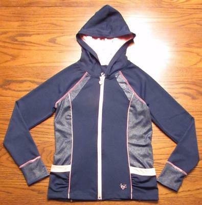 Justice Girls Navy Blue and Pink Long Sleeve Warm-Up Hooded Jacket Size 12