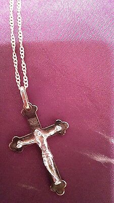 18K Rose Gold Finish Black & White  Cross Pendant with Chain