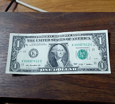 circulated one-dollar-bill, early serial #