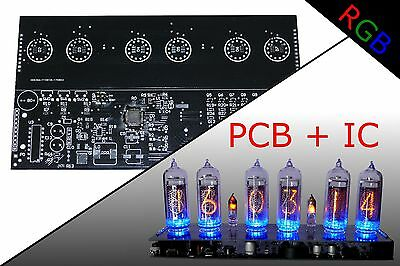 NIXIE CLOCK KIT PCB + IC IN-14 Alarm RGB BACKLIGHT - $26 95