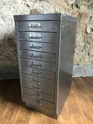 Vintage Industrial Stripped Metal10 Drawer Filing Cabinet Storage