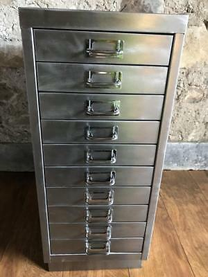 Vintage Industrial Stripped Metal10 Drawer Filing Cabinet Storage A4 Size