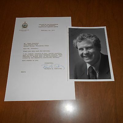 Richard A. Snelling 76th & 78th Governor Vermont Hand Signed Photo & Letter 1977