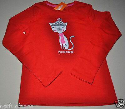 Gymboree girls size 5 NWT white cat red tee shirt top long sleeve 100% cotton