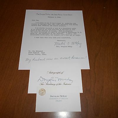 Douglas McKay  was a politician Hand Signed Card w/Letter from wife 1966