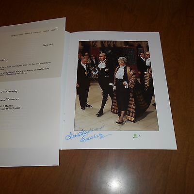 Betty Boothroyd  Speaker of the House Of Commons Hand Signed Booklet
