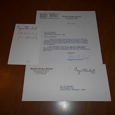 Margaret Chase Smith  was a Maine Senator Hand Signed Letter & Photo w/Envelope