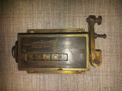 Vintage Mechanical DUX III DUX3 Pull Counter Solid Brass Made in Denmark by DUX