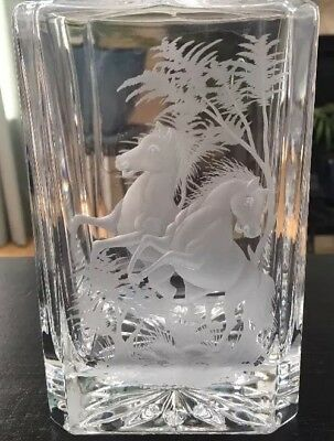Gorgeous!!! Crystal Stallion/Horse Engraved Both Sides Whiskey Decanter SIGNED!