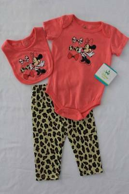 NEW Baby Girls 3 pc Outfit 3 - 6 Mos Minnie Mouse Bodysuit Leopard Pants Bib Set