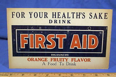 1910's Drug Rx Sign ~ Soda Fountain Orange Fruit Drink