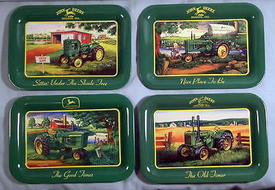 Old Farm Tractors  John Deere  Set of Four Different Tin Trays