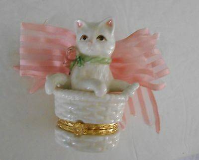 Mudpie Mud Pie 1998 Retired Cat Kitten Hinged Trinket Box Rose Inside