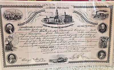 City of Philadelphia Loan Certificate (1860) to Penn Mutual Life Insurance Co.