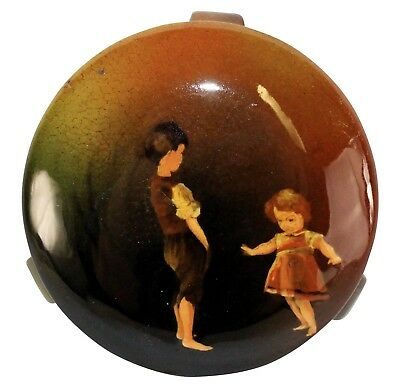 Rookwood Pottery 1890 Boy And Girl Playing Covered Box 232 (Willcox)