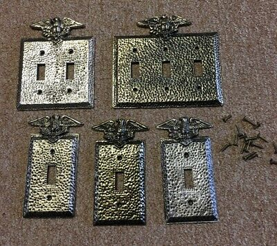 Lot Of Vntg Brass Switch Plates With Eagle Motif Gold Tone