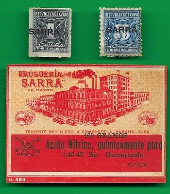 "Set of 2 revenue stamps and pharmaceutical product label of the Drugstore ""Sarra"