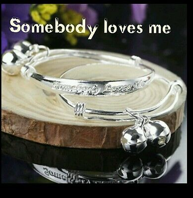 KIDS 925 STERLING SILVER SOMEBODY LOVES ME bangle anklet 0-6 YEAR CHRISTMAS gift