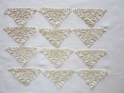 Vintage Antique Ivory Reticella Needle Lace Triangles Inserts (12)