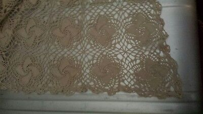 Antique Crocheted Square Tablecloth