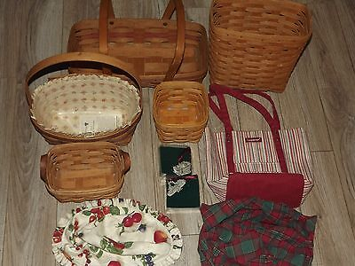 Longaberger Basket Lot Wall Mail Bread Dresden 10014 & Ornaments Liners Tote Bag