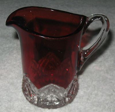 """Antique/Vintage Glass 20th Century Ruby Red Clear to Cut Mug - 4"""" Height"""