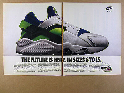 1991 Nike Air Huarache Running Shoes color photo vintage print Ad