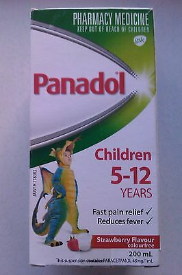 Panadol Children 5-12 years 200 ml strawberry flavour,pain/fever relief,see belo