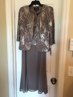 Mother Of The Bride/Formal Event Dress Taupe Size 12P Gorgeous In Person! NWT